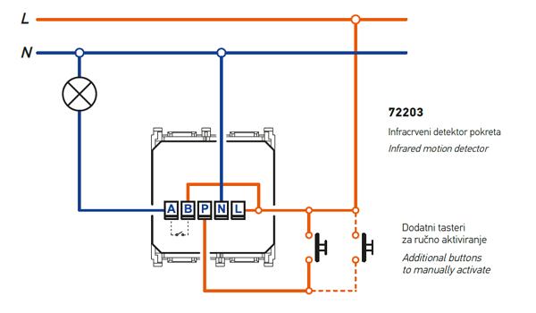Motion sensor - detector - wiring diagram