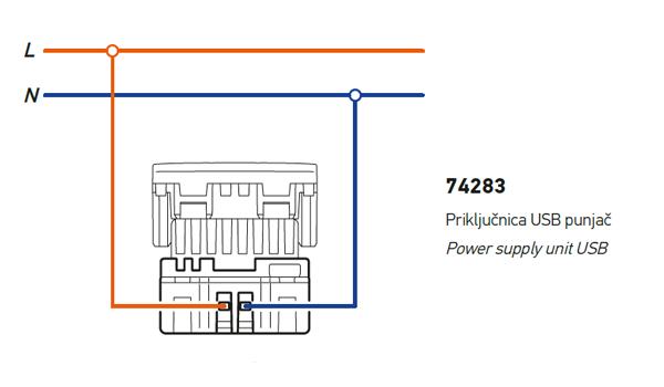 USB power supply unit - wiring diagram