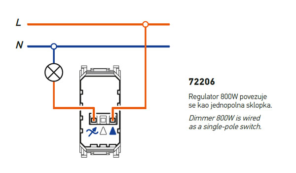 Dimmer 800W as single-pole switch